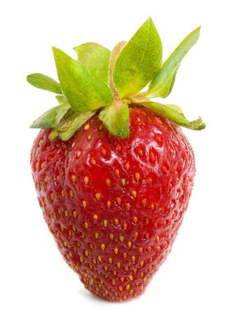 A large, ripe strawberries on a white background