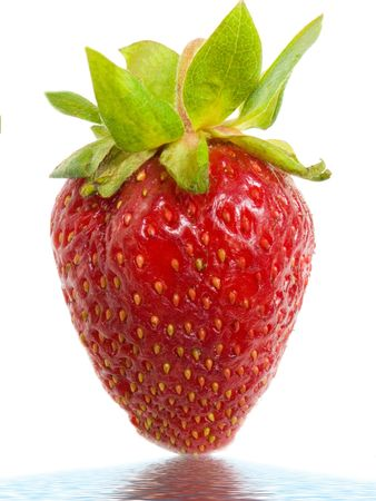 Large, ripe strawberry on a white background in water