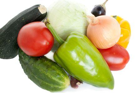Fresh garden vegetables on white background