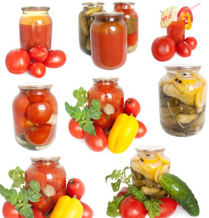 Mixed canned vegetables. Fresh garden vegetables and also a jarred of canned cucumbers on white background
