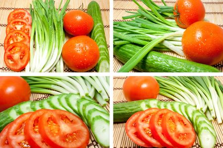 kitchen device: Mixed freshness vegetables. Fresh tomatoes, cucumbers and onions on a kitchen device Stock Photo