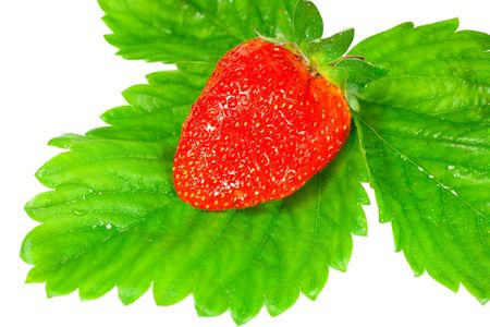 ripe, juicy strawberry on green leaves  Stock Photo