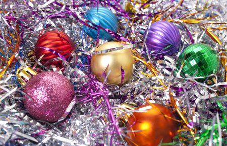Serpentine. Varicoloured christmas balls on a background a serpentine photo
