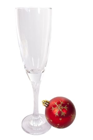 Champagne glass and Christmas ball Stock Photo