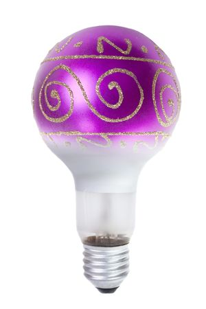 Christmas energy.  A Christmas toy  is bulb on a white background photo
