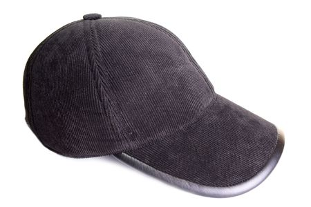 Black velveteen sports cap on a white background  Stock Photo - 6007850