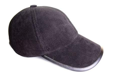 Black velveteen sports cap on a white background Stock Photo - 6007850