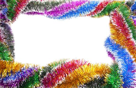 Frame and background from varicoloured christmas tinsel