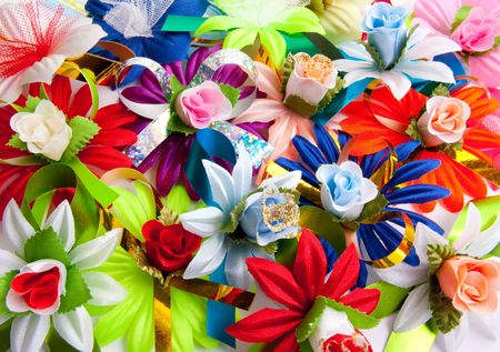 varicoloured: Background from varicoloured artificial flowers