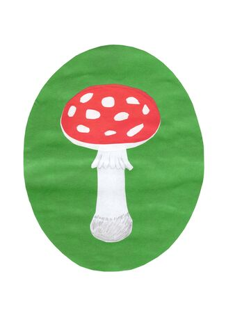 uneatable: Applique. A fly-agaric on a green lawn is made from a paper on a white background