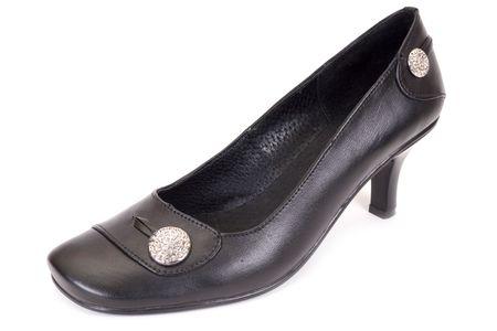 Black Womanish shoe on a white background  photo