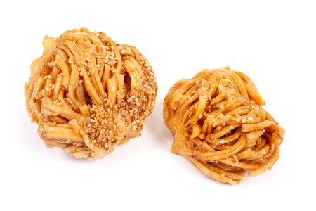 Baklava honey. Sweet tasty cookies on a white background
