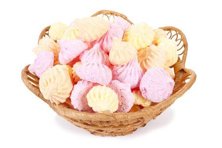 Basket isolated marshmallow cakes
