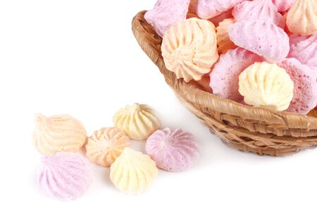 pastila: Basket isolated marshmallow cakes