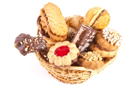 basket is gap-filling a delicious cookie on a white background Stock Photo - 7137215