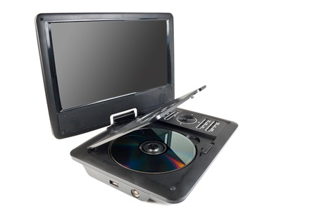 Portable dvd player isolated on white background