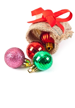 textile sachet pouch - untied and poured out with christmas balls photo