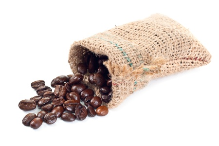textile sachet pouch - untied and poured out with coffee grains