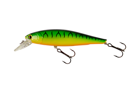 Fishing lures, isolated on white background. multi-colored lure. Stock Photo