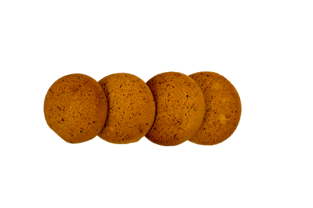 Oatmeal cookies isolated on white background, Snack