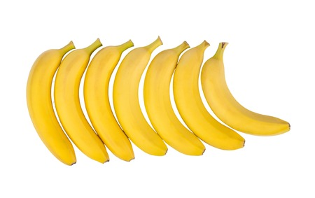 Ripe natural bananas isolated isolated on white background