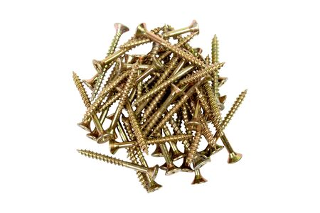 screws gold-colored on white background, tools for mounting threaded which are screwed into the holes