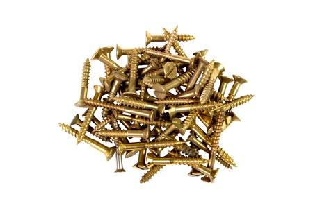 mounting holes: screws gold-colored on white background, tools for mounting threaded which are screwed into the holes
