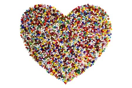 Colorful beads heart shape isolated on white background