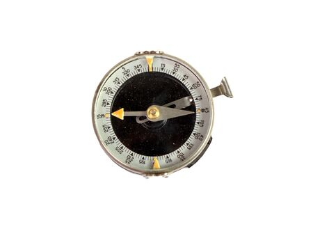 Compass on a white background. Photo of magnetic compass. Stock Photo