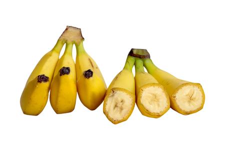 banana skin: chopped and whole ripe banana isolated on white background