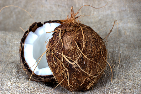 shredded coconut: coconut cut into pieces on burlap. Halves of coconut in a owl eyes