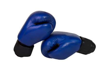 Hanging boxing gloves isolated on white background.