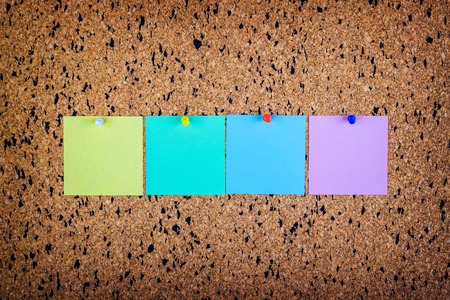 pin board: sticky note on cork board, empty space for text Stock Photo