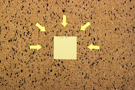 paper sheet: sticky note on cork board, empty space for text Stock Photo