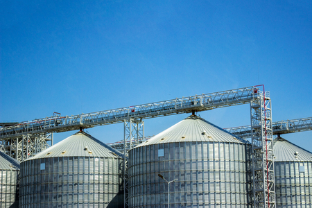 Storage silos for agricultural cereal products.Industrial storage of raw materials in silos. Stock Photo