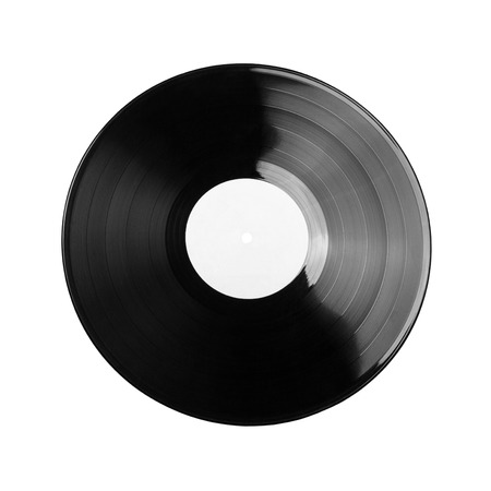 Black vinyl record isolated on white background Stock fotó