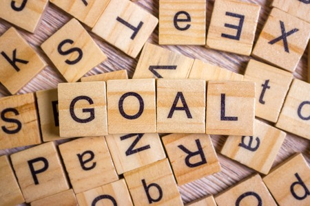 keywords: Goals Word In Wooden Cube. Sign with wooden cubes. Stock Photo