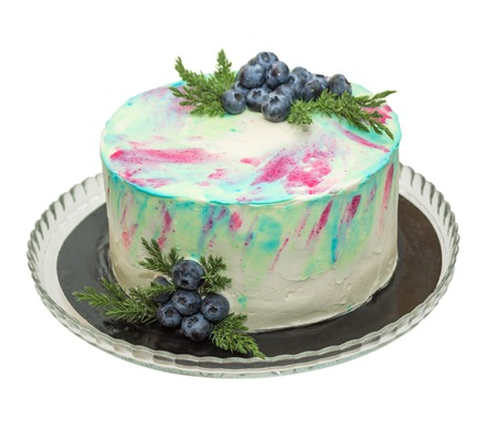 Cake with cream cheese and fresh blueberries isolated