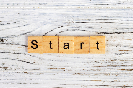 Start Word Written In Wooden Cube Concept Stock Photo