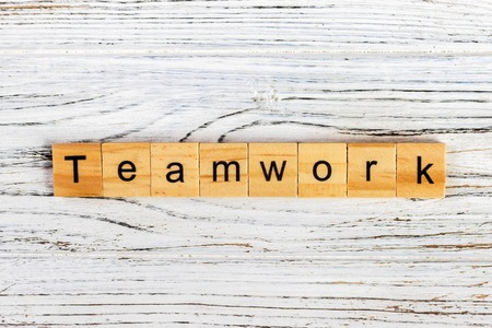 TEAMWORK word made with building blocks concept. Stock Photo