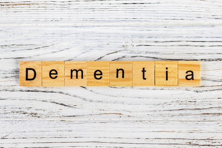 Dementia word made with wooden blocks concept 스톡 콘텐츠