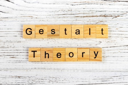 gestalt theory word made with wooden blocks concept 스톡 콘텐츠