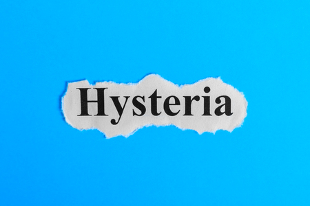 Hysteria text on paper. Word Hysteria on a piece of paper. Concept Image. Hysteria Syndrome. Stock Photo