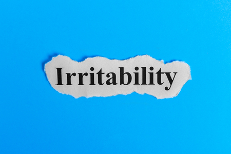 Irritable text on paper. Word Irritable on a piece of paper. Concept Image. Irritable Syndrome.