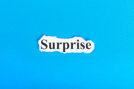 Surprise text on paper. Word Surprise on torn paper. Concept Image. Stock Photo - 87731249