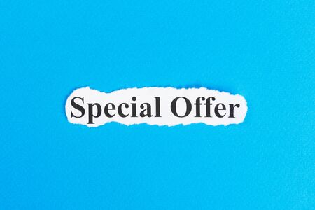Special offer text on paper. Word Special offer on torn paper. Concept Image.