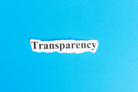 Transparency text on paper. Word Transparency on torn paper. Concept Image.