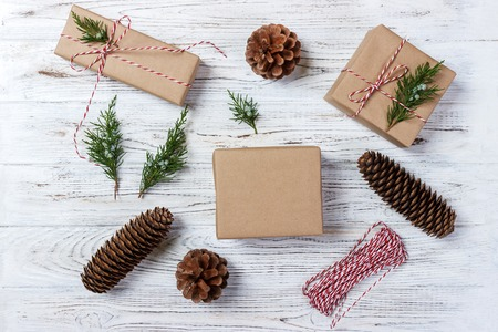 Gift wrapping. packs gifts, step by step top view. Stock Photo