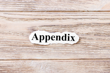 appendix of the word on paper. concept. Words of appendix on a wooden background. 版權商用圖片