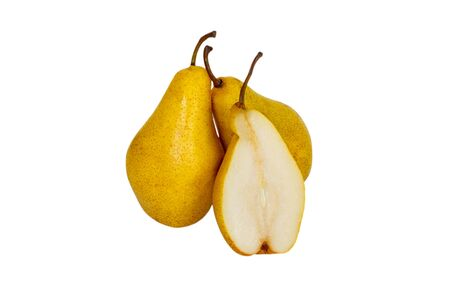 Yellow pear isolated on white background. three Yellow pear. Stock Photo